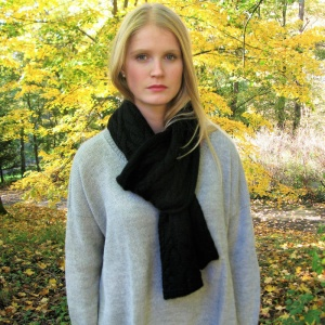 Inès - Black twisted alpaca scarf