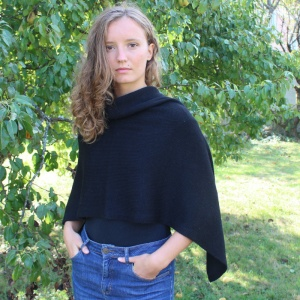 Black twisted alpaca poncho