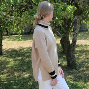 Sand alpaca turtleneck sweater