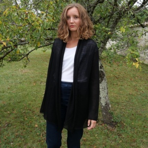 Black alpaca long jacket
